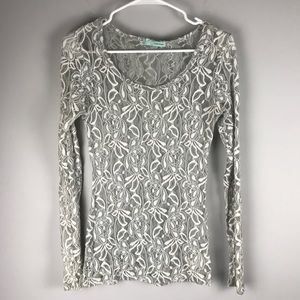 Maurices all over lace floral top grey long sleeve